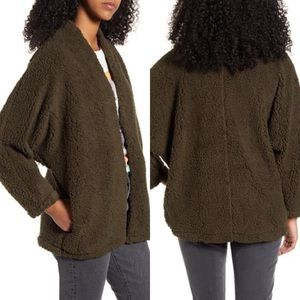 NWT All in Favor Green Faux Shearling Sweater L